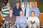 Sean Murphy presents Ger Flynn the Murphy's bar cup for winning the Singlae Darts Championship and John Herlihy the Peig Murphy cup on Monday front row l-r: John Herlihy, Sean Murphy, Ger Flynn. Back row: Roland Sauter, Leonard Fitzgerald, Denis Brosnan and James Buckley