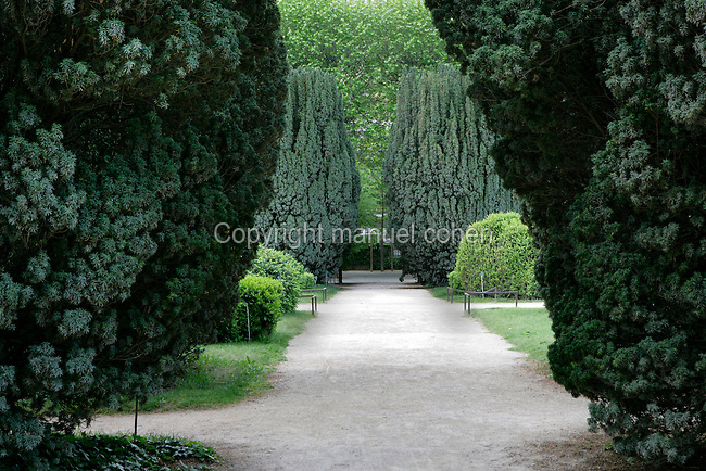 The Carres de la Perspective (the plots of perspective) located in the Jardin des Plantes, Paris, 5th arrondissement, France. Founded in 1626 by Guy de La Brosse, Louis XIII's physician, the Jardin des Plantes, originally known as the Jardin du Roi, opened to the public in 1640. It became the Museum National d'Histoire Naturelle in 1793 during the French Revolution. Picture by Manuel Cohen