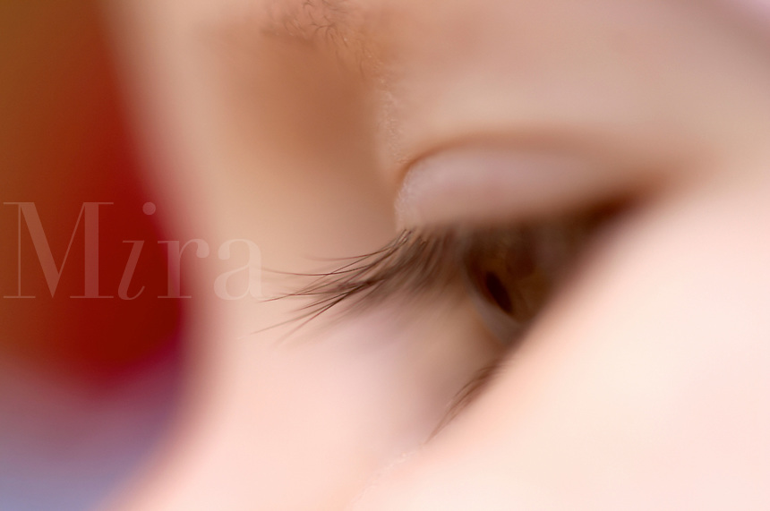 Closeup of eye of 6 month old baby gir