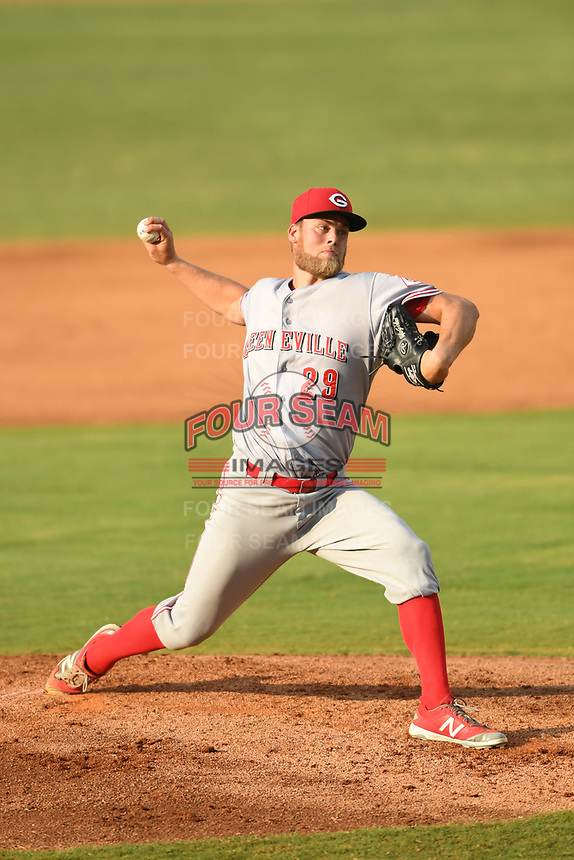 Greeneville Reds starting pitcher Tyler Garbee (29) delivers a pitch during a game against the Bristol Pirates at Boyce Cox Field on July 31, 2019 in Bristol, Virginia. The Pirates defeated the Reds 13-3. (Tracy Proffitt/Four Seam Images)