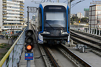 ETHIOPIA , Addis Ababa, LRT Light rail transport, blue line, build by chinese company  / AETHIOPIEN, Addis Abeba, Stadtbahn Linie, gebaut durch chinesische Firma