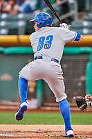 Peter O'Brien (33) of the Omaha Storm Chasers bats against the Salt Lake Bees in Pacific Coast League action at Smith's Ballpark on May 8, 2017 in Salt Lake City, Utah. Salt Lake defeated Omaha 5-3. (Stephen Smith/Four Seam Images)