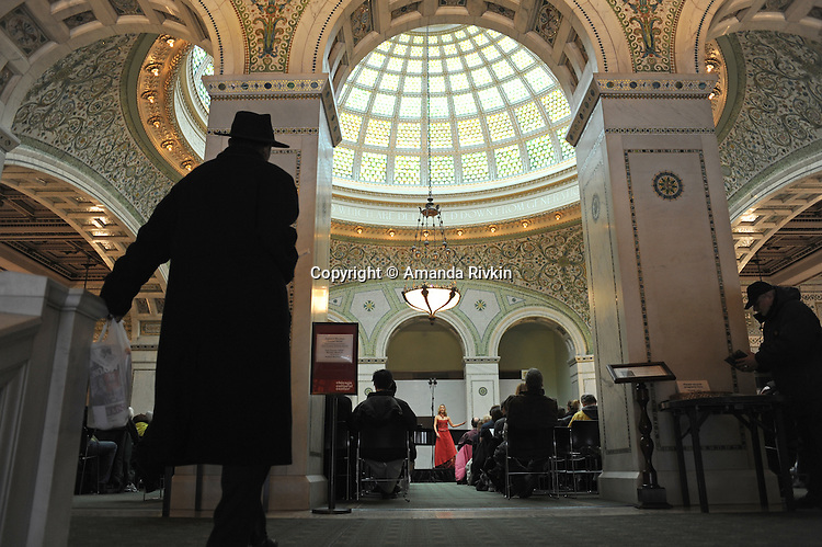 A woman performs during a concert in Preston Bradley hall at the Chicago Public Library and Cultural Center, a Chicago landmark, at 78 E. Washington in Chicago, Illinois on March 23, 2009.