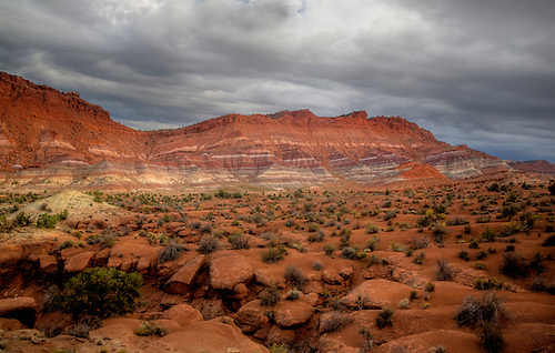 Colorful clay beds are revealed from erosion at the The Grand Staircase Escalante National Monument, Utah
