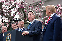 Stephen Rusckowski, Chairman, President and CEO of Quest Diagnostics, speaks during a news conference with United States President Donald J. Trump, United States Vice President Mike Pence, members of the Coronavirus Task Force, and Industry Executives, in the Rose Garden at the White House in Washington D.C., U.S., on Friday, March 13, 2020.  Trump announced that he will be declaring a national emergency in response to the Coronavirus.  Credit: Stefani Reynolds / CNP/AdMedia