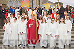 Pupils from Knocknagree NS with Bishop Bill Murphy, Fr Con Buckley and their teacher DJ Golden after they made their Confirmation in Rathmore on Monday