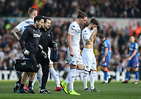 Leeds United's Luke Ayling goes off the pitch after receiving treatment after a collision with Bolton Wanderers' Clayton Donaldson <br /> <br /> Photographer Andrew Kearns/CameraSport<br /> <br /> The EFL Sky Bet Championship - Leeds United v Bolton Wanderers - Saturday 23rd February 2019 - Elland Road - Leeds<br /> <br /> World Copyright © 2019 CameraSport. All rights reserved. 43 Linden Ave. Countesthorpe. Leicester. England. LE8 5PG - Tel: +44 (0) 116 277 4147 - admin@camerasport.com - www.camerasport.com
