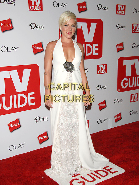 PINK.The 4th Annual TV Guide Post Emmy Party held at Social in Hollywood, California, USA..August 27th, 2006.Ref: DVS.full length Pinnk tattoos white halterneck lace low cut dress pinnk brooch plunging neckline.www.capitalpictures.com.sales@capitalpictures.com.©Debbie VanStory/Capital Pictures