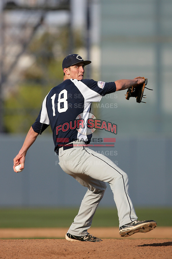 Hunter Virant of Camarillo High School during a MLB Scouting Bureau workout at the Urban Youth Academy on February 11, 2012 in Compton, California.(Larry Goren/Four Seam Images)