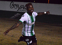 TUNJA-COLOMBIA, 11-02-2020: Gustavo Torres de Atlético Nacional, celebra el gol anotado a Boyacá Chicó F. C., durante partido entre Patriotas FC y Atlético Nacional, de la fecha 4 por la Liga BetPlay DIMAYOR I 2020 en el estadio La Independencia en la ciudad de Tunja. / Gustavo Torres of Atlético Nacional, celebrates a scored goal to Boyacá Chicó F. C., during a match between Boyaca Chico F. C. and Atlético Nacional, of the 4th date for the BetPlay DIMAYOR Leguaje I 2020 at La Independencia stadium in Tunja city. / Photo: VizzorImage / José Miguel Palencia / Cont.
