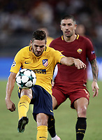 Football Soccer: UEFA Champions League AS Roma vs Atletico Madrid Stadio Olimpico Rome, Italy, September 12, 2017. <br /> Atletico Madrid's Koke (l) in action with Roma's Aleksandar Kolarov (r) during the Uefa Champions League football soccer match between AS Roma and Atletico Madrid at at Rome's Olympic stadium, September 12, 2017.<br /> UPDATE IMAGES PRESS/Isabella Bonotto