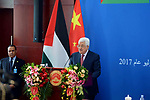 Palestinian President Mahmoud Abbas delivers a speech during a meeting at the Chinese Academy of Governance, in Beijing, China, on July 19, 2017. Abbas is on an official visit to China from July 17-20. Photo by Thaer Ganaim