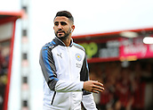 30th September 2017, Vitality Stadium, Bournemouth, England; EPL Premier League football, Bournemouth versus Leicester; Riyad Mahrez of Leicester takes a look at The Vitality Stadium before kick off