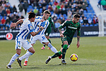 CD Leganes's Ruben Perez and Real Betis Balompie's Sergio Leon during La Liga match between CD Leganes and Real Betis Balompie at Butarque Stadium in Madrid, Spain. February 10, 2019. (ALTERPHOTOS/A. Perez Meca)