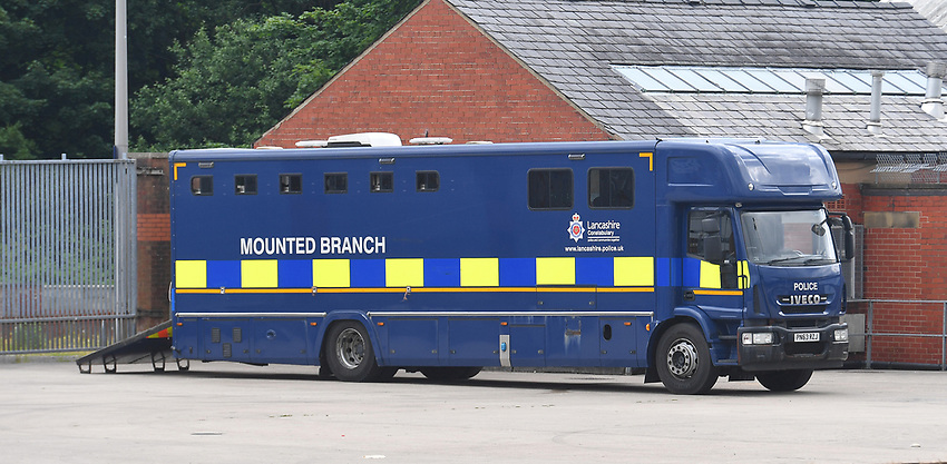 Mounted police?  With no fans at games, some may say this could be overkill.<br /> <br /> Photographer Dave Howarth/CameraSport<br /> <br /> The EFL Sky Bet Championship - Blackburn Rovers v Bristol City - Saturday 20th June 2020 - Ewood Park - Blackburn<br /> <br /> World Copyright © 2020 CameraSport. All rights reserved. 43 Linden Ave. Countesthorpe. Leicester. England. LE8 5PG - Tel: +44 (0) 116 277 4147 - admin@camerasport.com - www.camerasport.com