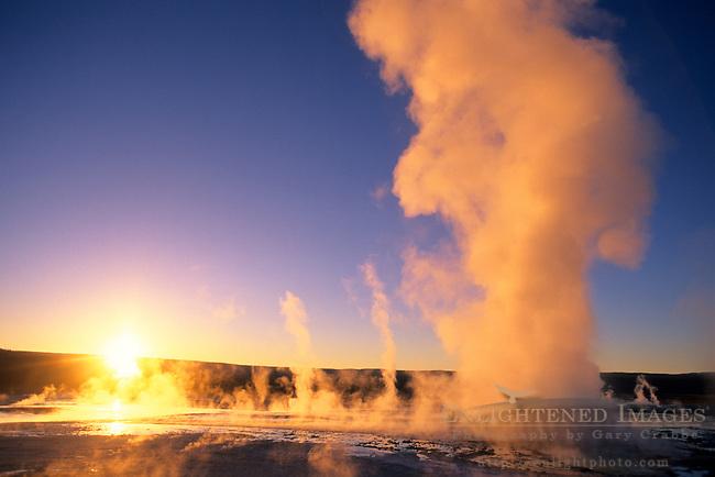 Fountain Geyser at sunset, Fountain Paint Pot area, Yellowstone National Park, MONTANA