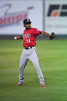 Billings Mustangs right fielder Satchel McElroy (14) prepares to make a throw to the infield during a Pioneer League game against the Idaho Falls Chukars at Melaleuca Field on August 22, 2018 in Idaho Falls, Idaho. The Idaho Falls Chukars defeated the Billings Mustangs by a score of 5-3. (Zachary Lucy/Four Seam Images)
