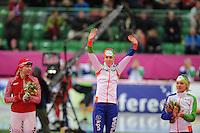 SCHAATSEN: HAMAR: Vikingskipet, 11-01-2014, Essent ISU European Championship Allround, podium 1500m Ladies, Yuliya Skokova (RUS), Ireen Wüst (NED), Yvonne Nauta (NED), ©foto Martin de Jong