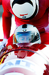 20 November 2005: Dawid Kupczyk leads the Poland 1 sled pushoff in the first run of the 2005 FIBT AIT World Cup Men's 4-Man Bobsleigh Tour, piloting the team to an 18th place finish at the Verizon Sports Complex, in Lake Placid, NY. Mandatory Photo Credit: Ed Wolfstein.