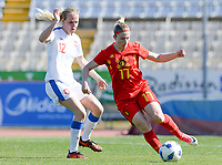 20180228 - LARNACA , CYPRUS :  Belgian Jana Coryn (r) pictured in action with Czech Klara Cahynova (left)during a women's soccer game between The Belgian Red Flames and the Czech Republic , on wednesday 28 February 2018 at GSZ Stadium in Larnaca , Cyprus . This is the first game in group B for Belgium during the Cyprus Womens Cup , a prestigious women soccer tournament as a preparation on the World Cup 2019 qualification duels. PHOTO SPORTPIX.BE | DAVID CATRY
