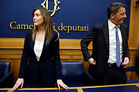 Maria Elena Boschi and Matteo Renzi <br /> Rome April 4th 2019. Press conference of Democratic Party about the bus accident happened 3 years ago in Freginals, Spain in which 7 Italian girls lost their lives, to press the Italian Government to ask for justice to the Spanish authorities.<br /> photo di Samantha Zucchi/Insidefoto
