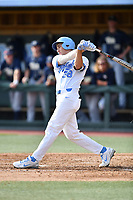 North Carolina Tar Heels right fielder Kip Brandenburg (38) swings at a pitch during a game against the Pittsburgh Panthers at Boshamer Stadium on March 17, 2018 in Chapel Hill, North Carolina. The Tar Heels defeated the Panthers 4-0. (Tony Farlow/Four Seam Images)