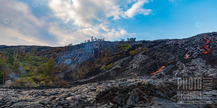 Lava rivers in Pulama Pali, on Holei Pali, Hawai'i Volcanoes National Park, Puna district, Hawai'i Island, December 2017.