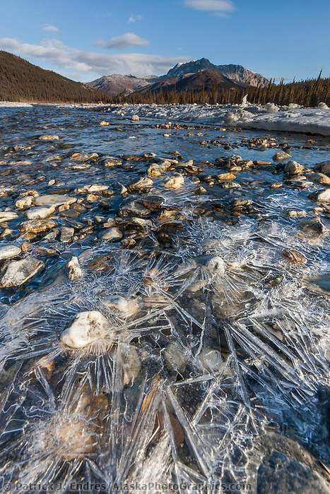 Ice forming on the headwaters of the Dietrich River, Brooks Range, Alaska.