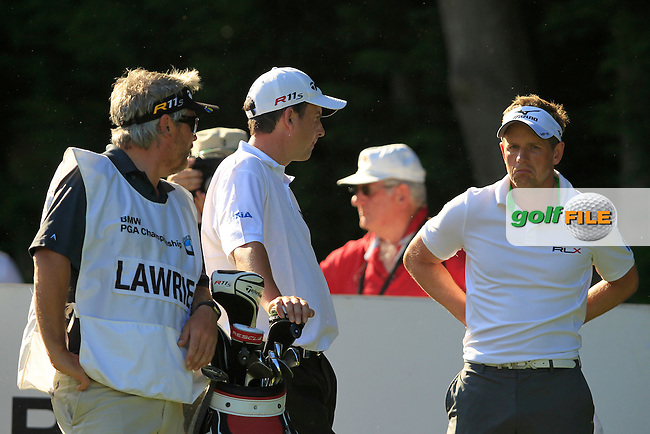 Peter Lawrie (IRL) and Luke DOnald (ENG) on the 18th during the third round of the BMW PGA CHAMPIONSHIP, Wentworth Club,Surrey,England. 26/5/12.Picture  Fran Caffrey www.golffile.ie..