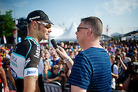 Tom Boonen (BEL/OPQS) interviewed by Carl Berteele on the podium<br /> <br /> Heistse Pijl 2014