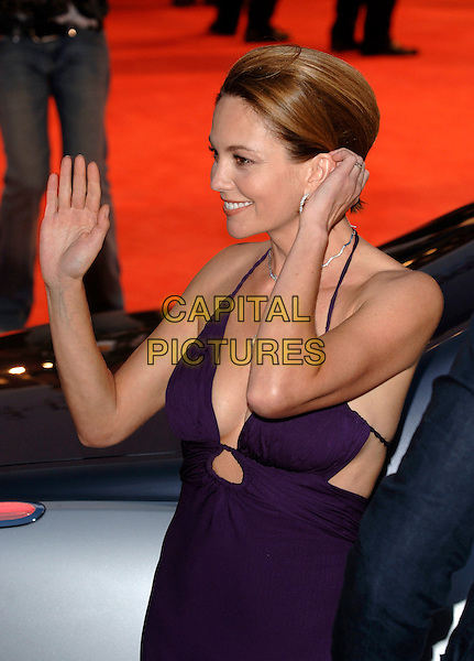 """DIANE LANE.""""Hollywoodland"""" premiere on the second day of the 63rd Venice International Film Festival, Venice, Italy..August 31st, 2006.Ref: PL.half length purple dress cleavage hand waving gesture profile.www.capitalpictures.com.sales@capitalpictures.com.©Phil Loftus/Capital Pictures"""