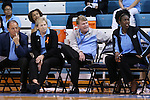 09 November 2015: UNC head coach Sylvia Hatchell (second from left) with assistant coaches (from left) Bill Lee, Andrew Calder, and Sylvia Crawley. The University of North Carolina Tar Heels hosted the University of Mount Olive Trojans at Carmichael Arena in Chapel Hill, North Carolina in a 2015-16 NCAA Women's Basketball exhibition game. UNC won the game 99-45.