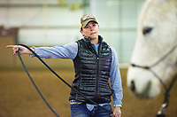 """NWA Democrat-Gazette/CHARLIE KAIJO Ashley Lyle of Gentry lunges her quarter horse Frisco, Sunday, March 25, 2018 at the Benton County Fairgrounds in Bentonville. <br /> <br /> The Benton County Fairgrounds partnered with the Northwest Arkansas Horse Show Association to provide an arena for riders to bring their horses. <br /> <br /> """"This is a testing the waters kind of thing. We'd like to do more of these open ride events, enjoy the fairgrounds and the nice arena,"""" said Susan Koehler, fair and events manager of the Benton County Fairgrounds. """"Especially like today's rainy day. This is an opportunity for them to ride.""""<br /> <br /> The next event is on April 14. It will include a large horse show with barrel racing, pole bending speed events and an open horse show with judged events like English, Western Pleasure and Ranch Horse events."""
