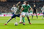 08.03.2019, Weserstadion, Bremen, GER, 1.FBL, Werder Bremen vs FC Schalke 04<br /> <br /> DFL REGULATIONS PROHIBIT ANY USE OF PHOTOGRAPHS AS IMAGE SEQUENCES AND/OR QUASI-VIDEO.<br /> <br /> im Bild / picture shows<br /> Daniel Caligiuri (FC Schalke 04 #18) im Duell / im Zweikampf mit Claudio Pizarro (Werder Bremen #04), <br /> <br /> Foto &copy; nordphoto / Ewert