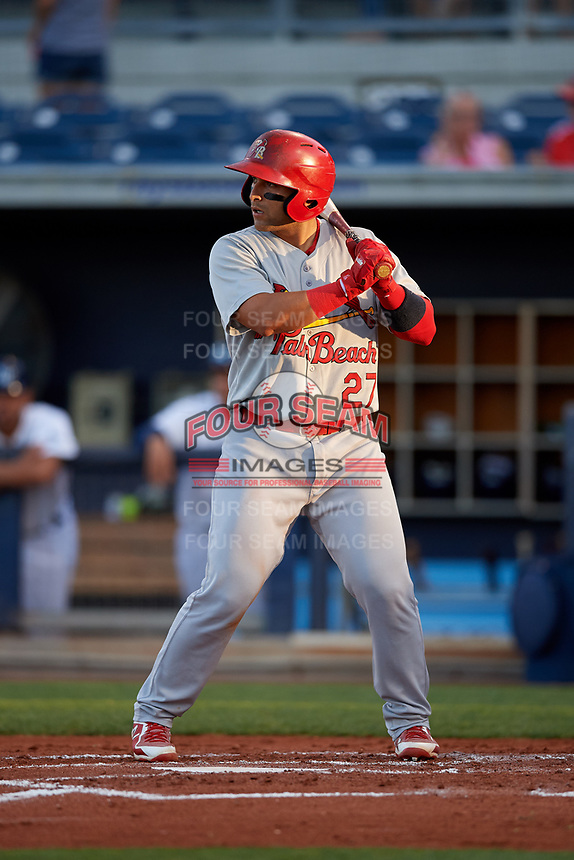 Palm Beach Cardinals catcher Jose Godoy (27) at bat during a game against the Charlotte Stone Crabs on April 20, 2018 at Charlotte Sports Park in Port Charlotte, Florida.  Charlotte defeated Palm Beach 4-3.  (Mike Janes/Four Seam Images)
