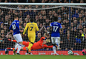 17th March 2019, Goodison Park, Liverpool, England; EPL Premier League Football, Everton versus Chelsea; Gylfi Sigurdsson of Everton scores at close range to give his side a 2-0 lead after his penalty kick had been saved by Chelsea goalkeeper Kepa Arrizabalaga after 72 minutes