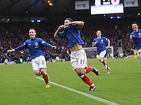 Fraser Aird celebrates scoring the winner in the Queen's Park v Rangers Irn-Bru Scottish League Division Three match played at Hampden Park, Glasgow on 29.12.12.