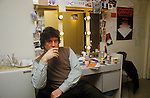 Alan Bates in dressing room before staring in Yonadab by Peter Shaffer 1980s London UK.