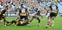Leicester Tigers' Telusa Veainu is grabbed by Wasps' Ashley Johnson <br /> <br /> Photographer Stephen White/CameraSport<br /> <br /> Gallagher Premiership - Wasps v Leicester Tigers - Sunday 16th September 2018 - Ricoh Arena - Coventry<br /> <br /> World Copyright &copy; 2018 CameraSport. All rights reserved. 43 Linden Ave. Countesthorpe. Leicester. England. LE8 5PG - Tel: +44 (0) 116 277 4147 - admin@camerasport.com - www.camerasport.com