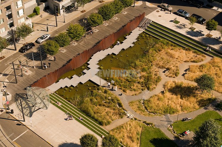 Aerial View of Tanner Springs Park in the Pearl District of Portland, oregon