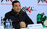 British singer's Robbie Williams gives a press conference before Top of the Mountain Concert in Ischgl, Austria.