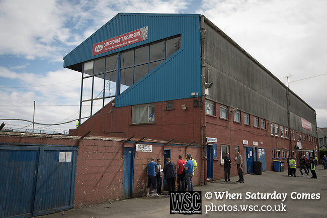 Queen of the South 2 Stranraer 0, 11/08/2015. Scottish Challenge Cup first round, Palmerston Park. A exterior view of the main stand at Palmerston Park, Dumfries, before Queen of the South hosted Stranraer in a Scottish Challenge Cup first round match. The game was the opening match of the season in a competition open to sides below the Scottish Premiership. Queen of the South won the match 2-0, watched by a crowd of 1229 spectators. Photo by Colin McPherson.