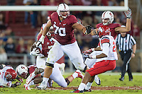 STANFORD, CA - NOVEMBER 15, 2014: Andrus Peat during Stanford's game against Utah. The Utes defeated the Cardinal 20-17 in overtime.