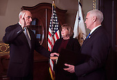 Retired United States Marine Corps General John Kelly is sworn-in as Secretary of Homeland Security by Vice President Mike Pence, as his wife Karen holds the bible, in the Vice Presidential ceremonial office in the Executive Office Building in Washington, D.C. on January 20, 2017.   <br /> Credit: Kevin Dietsch / Pool via CNP