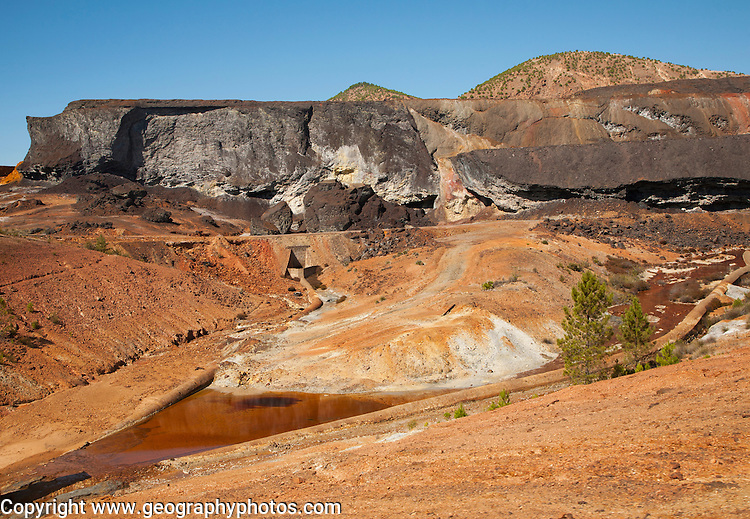 Lunar like despoiled landscape opencast mineral extraction Minas de Riotinto mining area, Huelva province, Spain