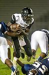 Lawndale, CA 10/18/13 - Tobi Ibraheem (Peninsula #5) in action during the Peninsula vs Leuzinger Varsity football game at Leuzinger High School.