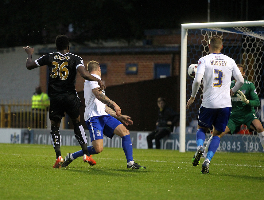Leicester City's Joe Doboo scores his sides first goal   beating Bury's Christian Walton<br />