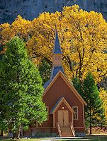 Yosemite National Park, CA: Yosemite Valley Chapel (1879), the oldest structure in Yosemite Valley in fall