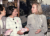 """First lady Hillary Rodham Clinton makes remarks at the launch of the """"Pink Ribbon"""" Breast Cancer Awareness Campaign in the Diplomatic Room of the White House in Washington, D.C. on Thursday, May 13, 1993.  Alexandria Penney, Editor-in-Chief, """"Self Magazine"""" and Evelyn H. Lauder, Senior Corporate Vice President, Estée Lauder Companies, and Chairman, Breast Cancer Research Foundation, look on from left.<br /> Credit: Ron Sachs / CNP"""