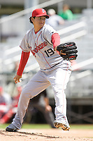 Spokane Indians' Richard Alvarez #19 delivers a pitch during a game against the Everett AquaSox at Everett Memorial Stadium on June 24, 2012 in Everett, WA.  Spokane defeated Everett 11-2.  (Ronnie Allen/Four Seam Images)